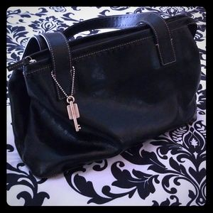 Fossil black leather bag.